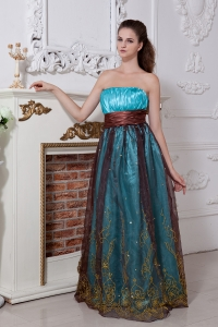 Aqua Strapless Prom Gown Floor-length Organza Embroidery