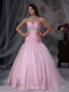 Baby Pink A-line Sweetheart Tulle Beading Prom Dress