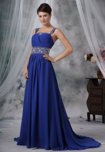 Beaded Decorate Straps and Wasit Brush Train Royal Blue Chiffon Prom / Evening Dress For 2013