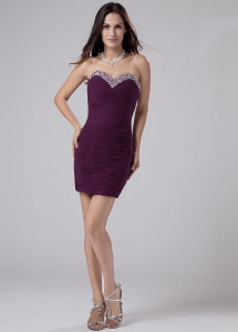 Purple Beading Mini-length Chiffon Prom Dress