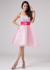Beading Prom Dress Strapless Organza Mini-length Pink
