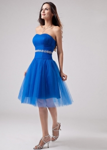 Blue Beading Strapless A-Line Knee-length Prom Dress Tulle