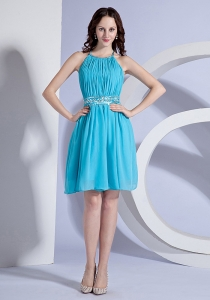 Prom Dress Beading Ruching Halter Aqua Blue Knee-length