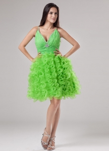 Spring Green Mini-length Ruffles V-neck Prom Dress
