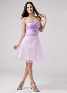 Lilac Prom Cocktail Dress Beaded Sweetheart Mini-length