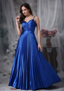 Spaghetti Straps Blue Straps Floor-length Ruch Prom Dress