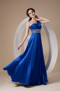 Blue Empire One Shoulder Elastic Woven Prom Dress