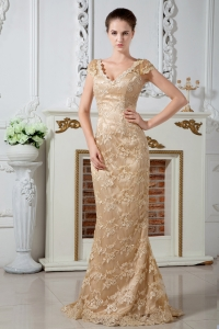Champagne V-neck Prom Dress Satin Lace Embroidery