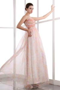 Colorful Empire Sweetheart Printing Ruch Prom Dress