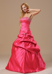 Coral Red Prom Dress With Appliques Bust