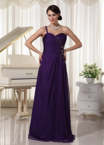 Purple Chiffon One Shoulder Prom Evening Dress