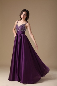 Beaded Prom Dress Dark Purple Straps Floor-length