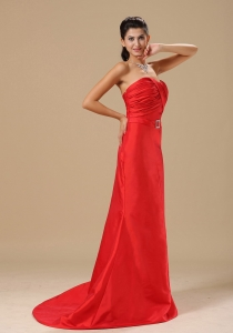 Sash With Beading Column Satin Red Evening Dress