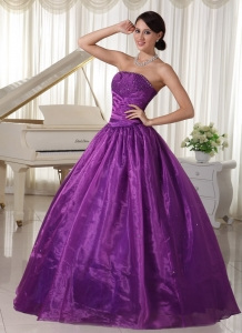Eggplant Purple Prom Dress Taffeta and Organza