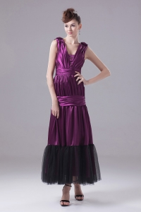 Eggplant Purple Prom Dress Ruch and Ankle-length