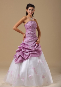 Embroidery Prom Gown Ruched and Hand Made Flowers