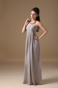 Grey Empire Prom Dress Sweetheart Chiffon Ruch