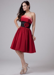 Wine Red Prom Gown Dress Taffeta Knee-length Strapless
