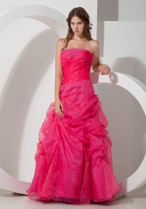 Hot Pink Strapless Prom Gown Dress Organza Beading