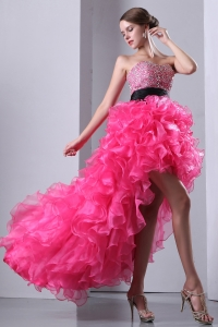 Hot Pink Sweetheart High-low Organza Beading Prom Dress