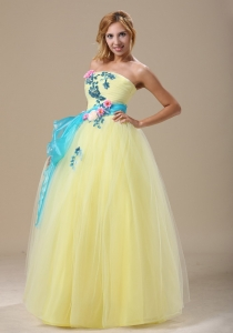 Light Yellow Prom Dress Appliques and Ruched Bodice