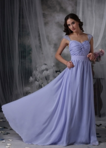Lilac Square Brush Train Chiffon Ruch Evening Dress