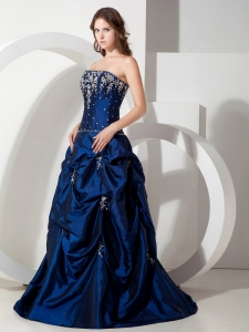 Navy Blue Strapless Floor-length Taffeta Prom Dress