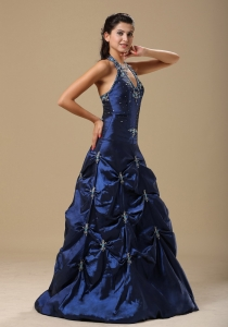 Navy Blue and Appliques Decorate Halter For Prom Dress