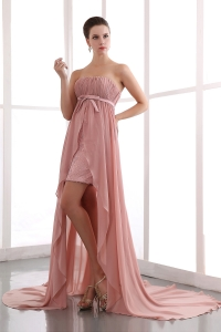 Pink Prom Dress Strapless Court Train Chiffon