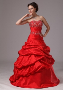 Red Beaded Decorate Up Bodice and Pick-ups Prom Dress