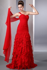Red One Shoulder Watteau Train Chiffon Ruffles Prom Dress
