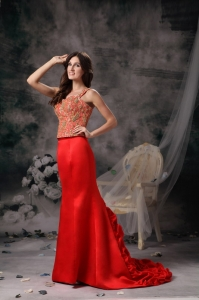 Red Mermaid Wide Straps Brush Train Beading Prom Dress