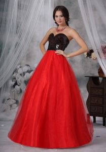 Red and Black Sweetheart Sequins Paillette Prom Dress