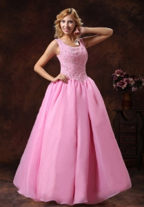 Wide Straps Neckline Lace-up Princess Prom Dress Rose Pink
