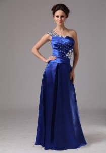 Royal Blue Beaded One Shoulder Ruch Evening Dress