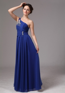 Royal Blue One Shoulder Appliques Evening Dress