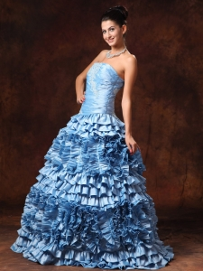 Ruffles Light Blue Strapless Prom Gowns Appliques