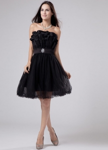Black Ribbons Strapless Mini-length Prom Dress Tulle
