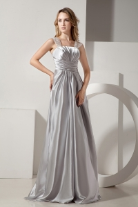 Silver Straps Floor-length Satin Ruch Beading Prom Dress
