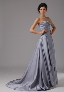 Strapless Elastic Woven Satin Prom Dress Ruched