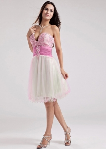 Multi-color Sweetheart Beading Prom Dress Knee-length