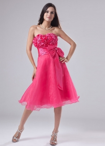 Organza Tea-length Prom Dress Hot Pink