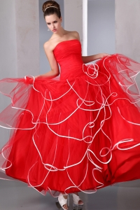Red Strapless Party Dress Ruching zipper up