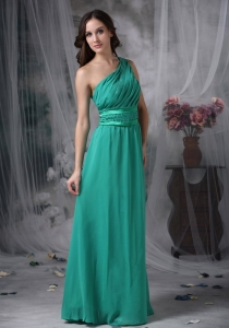 Turquoise One Shoulder Chiffon Beading Prom Dress