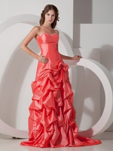 Watermelon Red Prom Gown Sweetheart Taffeta Bowknot
