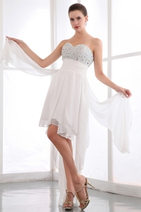 White Prom Dress Sweetheart Asymmetrical Chiffon Beading