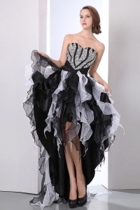 White and Black High-low Organza Beading Prom Dress