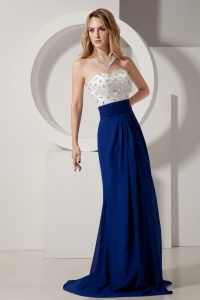 White and Navy Blue Sweetheart Beading Prom Dress