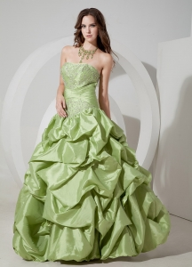 Yellow Green Strapless Taffeta Appliques Prom Dress