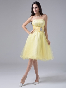 Light Yellow Sweet Prom Gown Beaded Ruch Organza